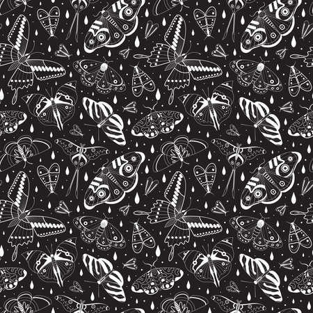Tropical moth pattern with monochrome exotic butterflies silhouettes on black. Exotic rainforest insects seamless background for prints, textile and fabric designs.