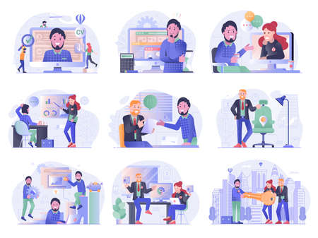 Job search and apply illustrations with employee and recruitment team. Hiring and recruiting process steps. Young professional on job hunt and corporation career building business illustrations.