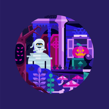 Haunted Spooky House and Mummy Halloween Icon