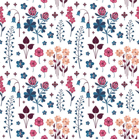 Meadow Wild Flowers and Herbs Botanical Pattern 版權商用圖片 - 151786990