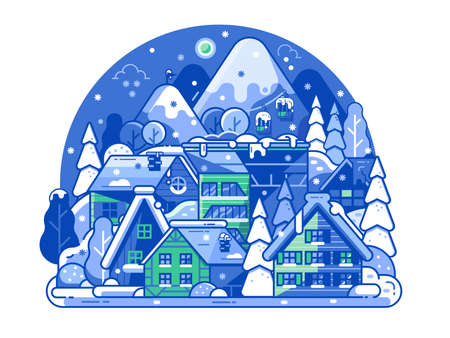 Sleeping Ski Resort by Night Scene in Line Art
