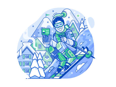 Cheerful Skier Man with Smart Phone on Slope Stock Illustratie