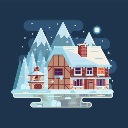 Winter Cozy House Snowy Scene in Flat