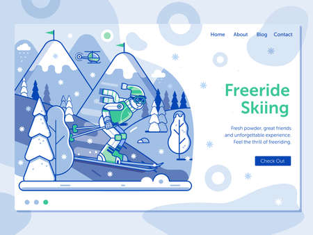 Ski Resort Landing Page with Freeride Skier
