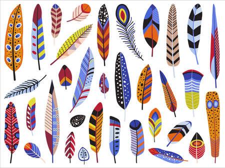 Colorful Bird Feather Set in Flat Design 版權商用圖片 - 155712040