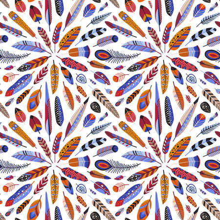 Bird Feathers and Plumage Seamless Pattern