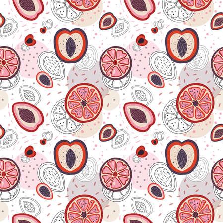 Half Cut Fruit Slices Pattern in Cartoon