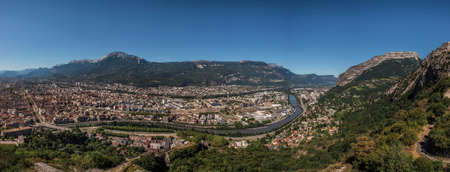 Grenoble City Mountain Panorama from Bastille Fortification