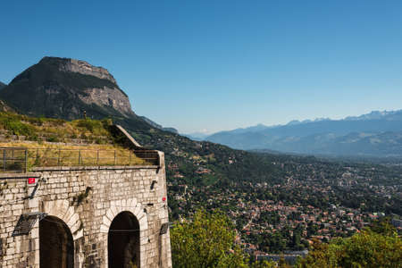 Grenoble City Panoramic View from Bastille Fortification 스톡 콘텐츠