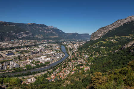 Grenoble Panorama from Hilltop of Bastille Fortification 스톡 콘텐츠