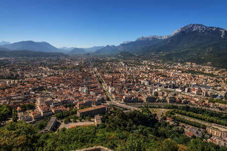 Grenoble City and French Alps Panoramic View 스톡 콘텐츠