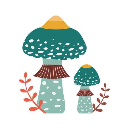Forest Mushroom Indigo Milk Cap in Cartoon