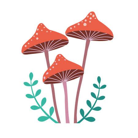 Forest Mushroom Honey Fungus in Cartoon Style 일러스트