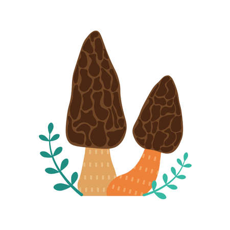 Forest Mushroom Morels Icon in Cartoon Style
