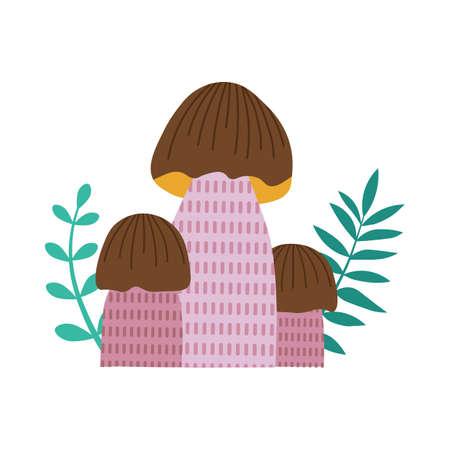 Forest Mushroom Boletus Icon in Cartoon Style 일러스트