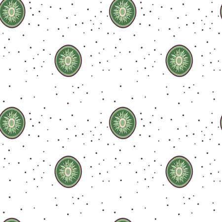 Half Cut Kiwifruit Slices Pattern in Cartoon