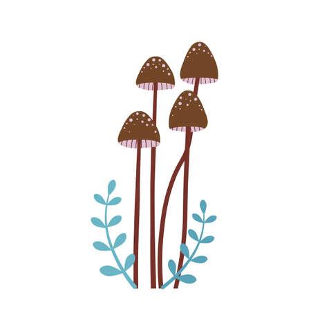 Forest Mushroom Honey Fungus in Cartoon Style