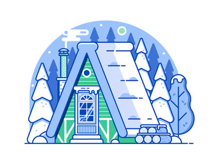 Winter Snow House Forest Scene in Line Art 向量圖像