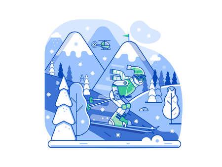 Mountain Skiing Concept Scene in Line Art