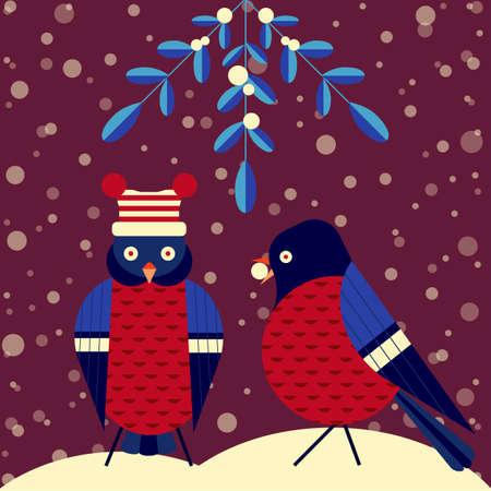 Christmas Birds Scene with Mistletoe and Bullfinch Stock fotó - 157605442
