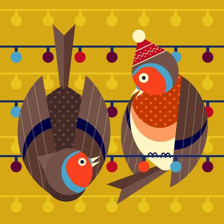 Christmas Birds Card with Funny Robin Couple