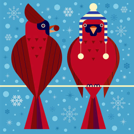 Christmas Birds Card with Red Cardinals Couple