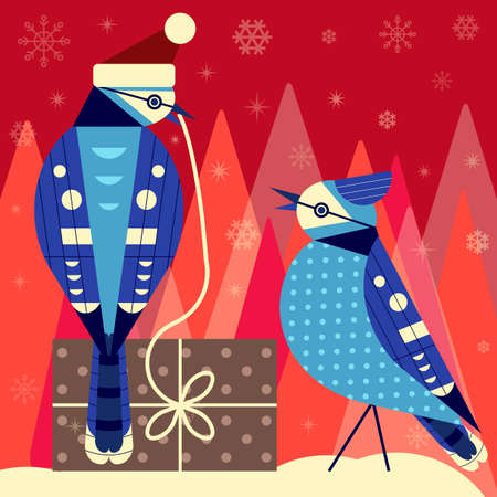 Christmas Birds Card with Blue Jay Couple
