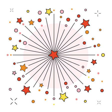 Festive Firework or Firecracker Icon in line Art Çizim