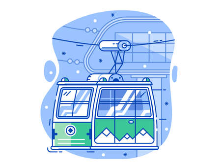 Ski Resort Line Concept with Green Cable Car