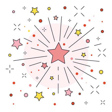 Festive Firework or Firecracker Icon in line Art Ilustración de vector