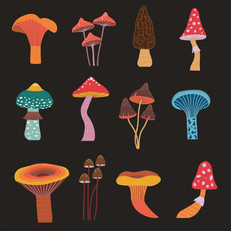 Cartoon Forest Mushrooms Hand Drawn Icons Set