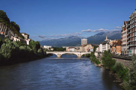 Grenoble View From Isere River Bridge