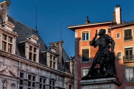 Knight Bayard Statue on Saint Andre Square Stok Fotoğraf