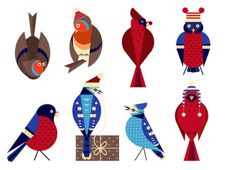 Christmas Birds in Funny Hats Icons Set