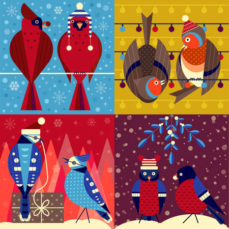 Christmas Birds in Funny Hats Xmas Cards Set