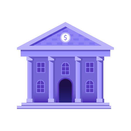 Bank Building Icon in Flat Gradient Design 向量圖像
