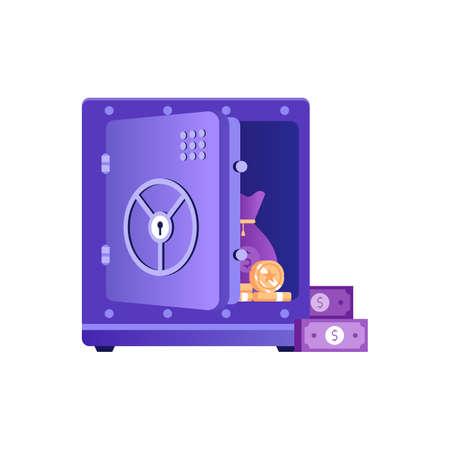 Unlocked Open Safe Icon in Flat Design Çizim