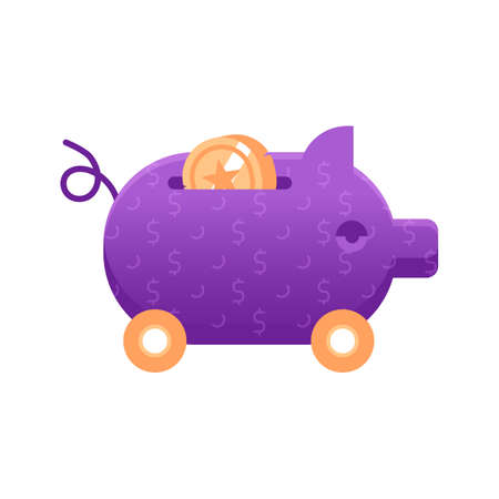 Piggy Bank Icon in Flat Gradient Design Çizim