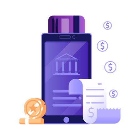 Mobile Payment Online Bill Icon in Flat Design
