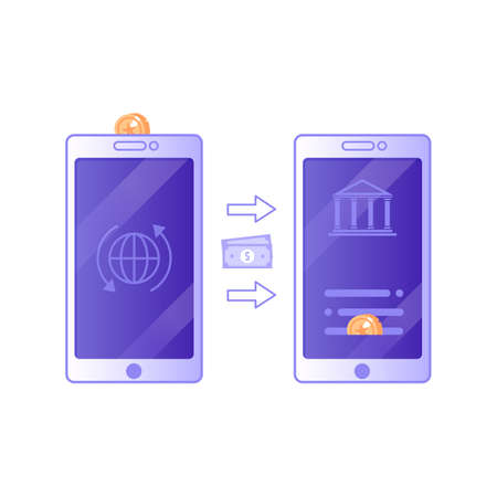 Mobile Money Transaction Icon in Flat Design
