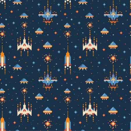 8-bit Vintage Video Game Pattern