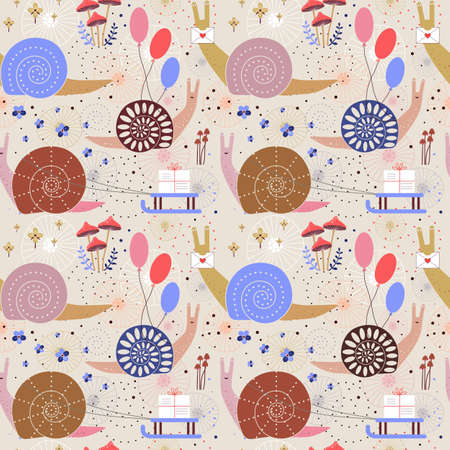 Snail Mail Delivery Seamless Pattern