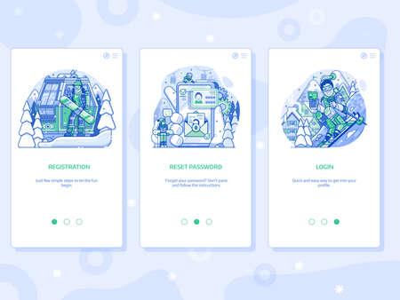 Winter Ski Resort App UI Line Illustrations