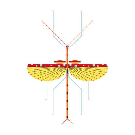Stick Insect Icon in Geometric Flat Style