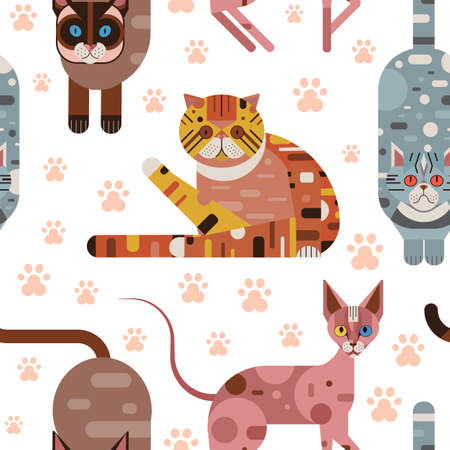 Flat Domestic Cats in Funny Poses Seamless Pattern 向量圖像