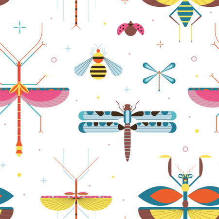 Meadow Insects Geometric Pattern