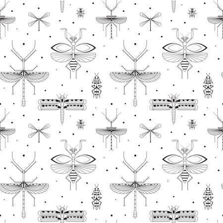 Line Winged Insects Silhouettes Pattern on White