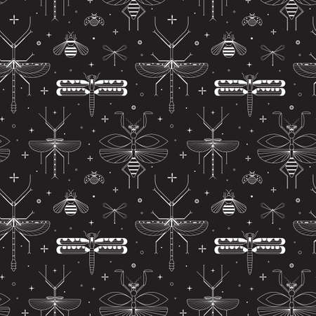 Line Winged Insects Silhouettes Pattern on Black