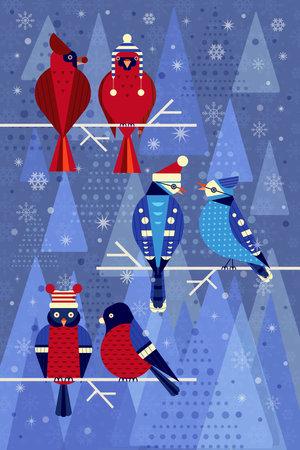 Backyard Winter Flat Birds in Funny Hats