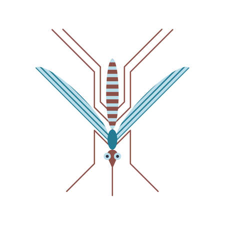 Mosquito Insect Icon in Geometric Flat Style